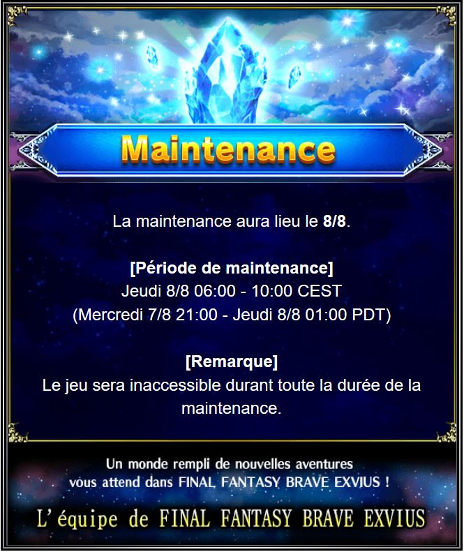 Maintenance 08/08/19 de 6H à 10H Captu185