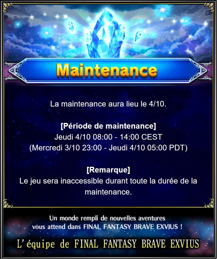 Maintenance 04/10 de 8H à 14H Captur50