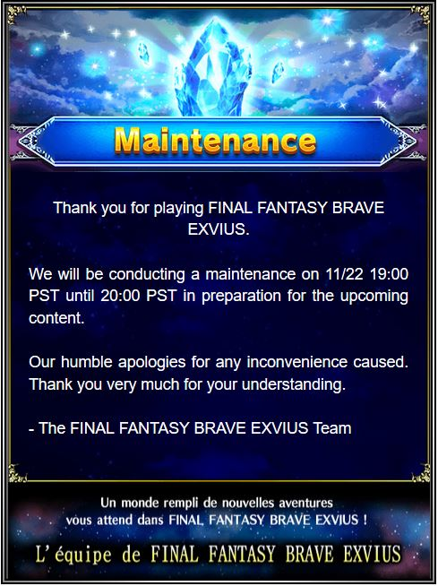 Maintenance 22/11 de 7H à 12H  Captur70