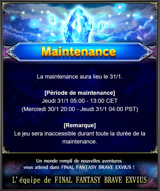 Maintenance 31/01 de 5H à 13H Captur92