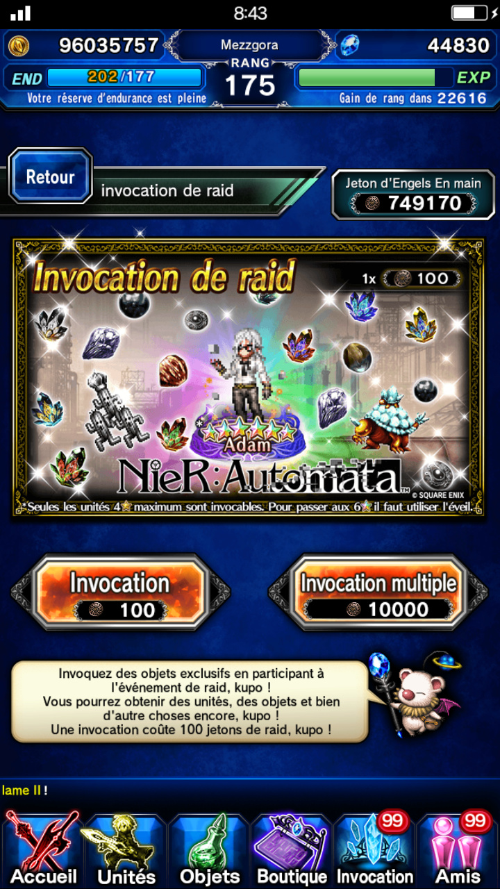 Evenement Raid - Collab Nier Automata (Rerun) - Destruction de la forme de vie mécanique - à partir du 23/11/18 Scree117