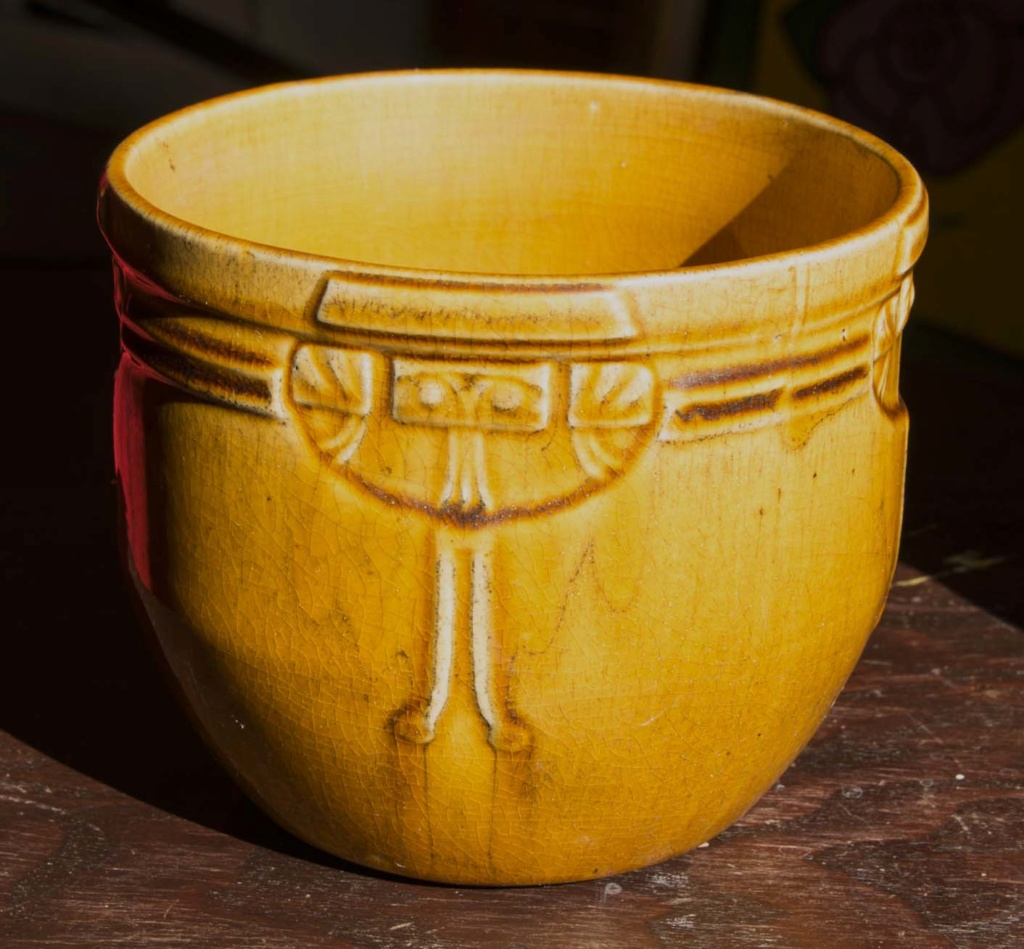 Yellow Ochre Art Deco Bowl/Planter Signed 'Louise' Louise10
