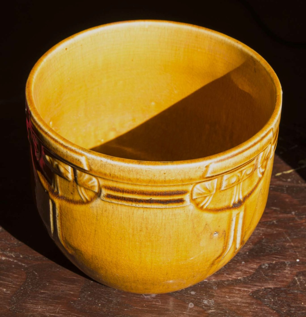 Yellow Ochre Art Deco Bowl/Planter Signed 'Louise' Louise11