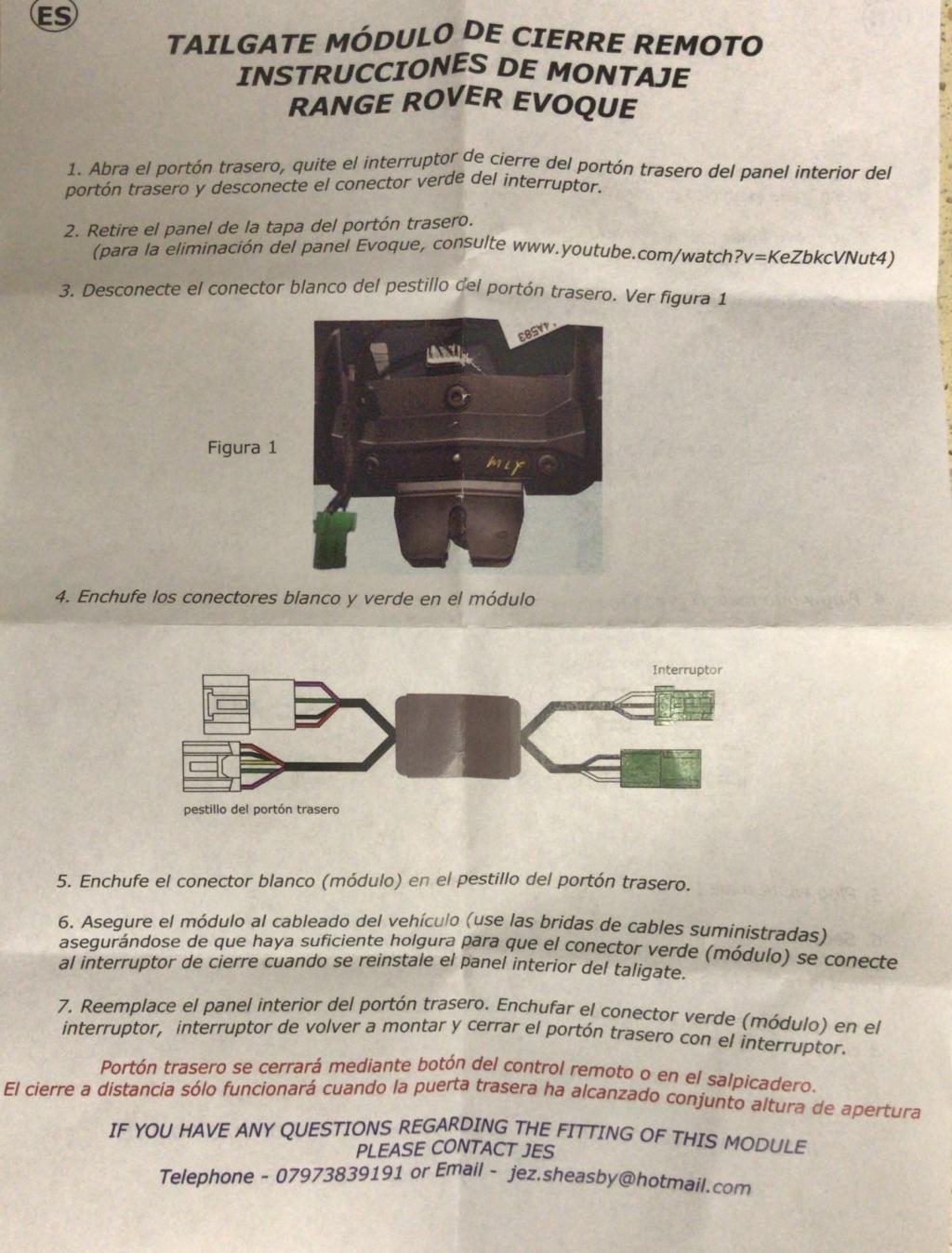 Módulo de cierre remoto de maletero. B6646210