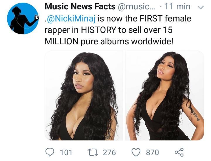 Nicki Minaj é a primeira rapper feminina a ultrapassar a marca de 15 milhões de álbuns puros no US Screen43