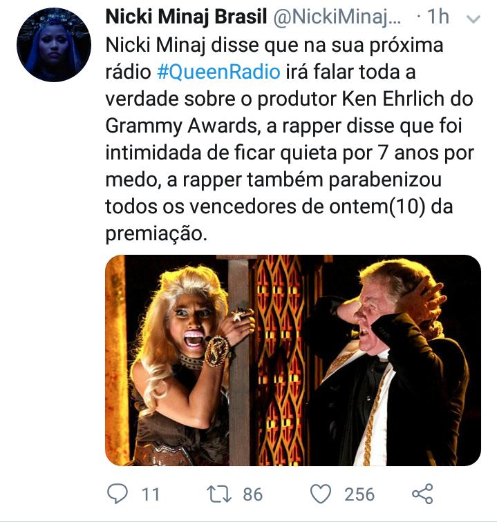 Nicki Minaj revelou que irá expor toda a verdade sobre ken Ehrli, produtor do Grammy Screen44