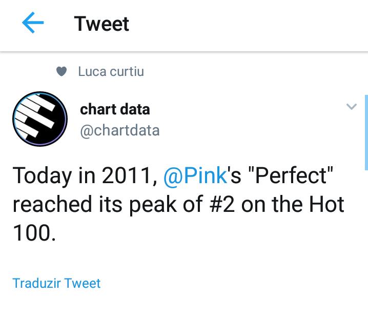 "Hoje em 2011, o hino ""Perfect"" de Pink alcançava peak #2 na Billboard Hot 100 Screen48"