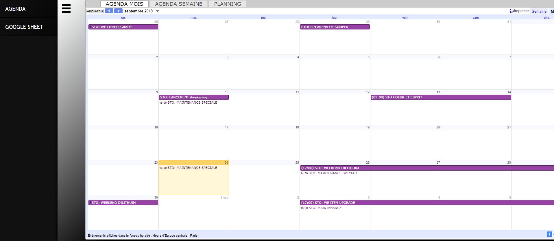 Blog présentation flotte + Calendrier + tableur event + Wiki Captur10