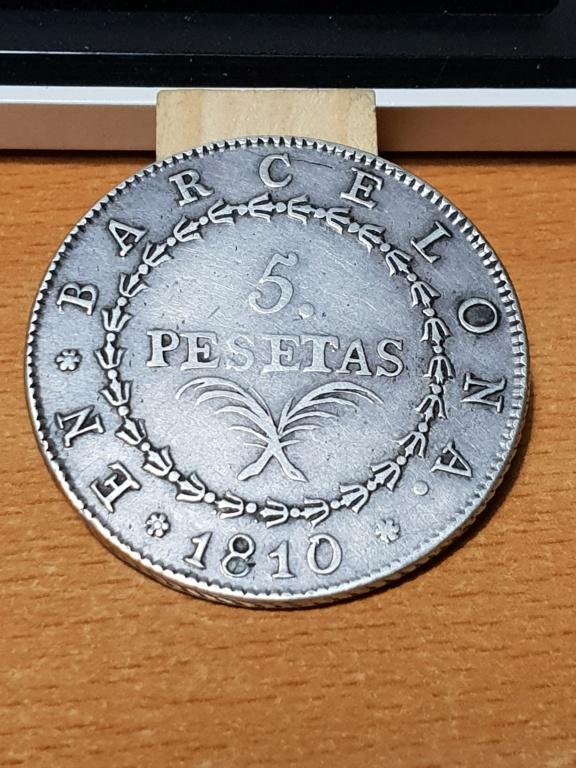 5 pesetas 1810. José I. Barcelona 20181110