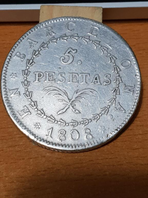 5 pesetas 1808. José I. Barcelona 20181112