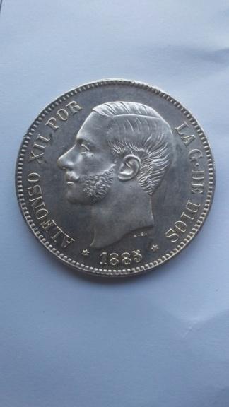 Último duro de Alfonso XII. 5 pesetas 1885 *87 MSM 20200114