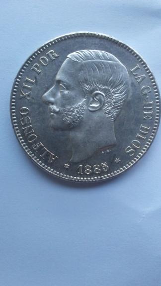 Último duro de Alfonso XII. 5 pesetas 1885 *87 MSM 20200115