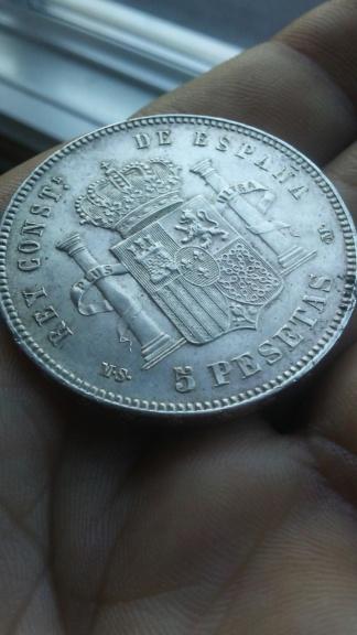 Último duro de Alfonso XII. 5 pesetas 1885 *87 MSM 20200118