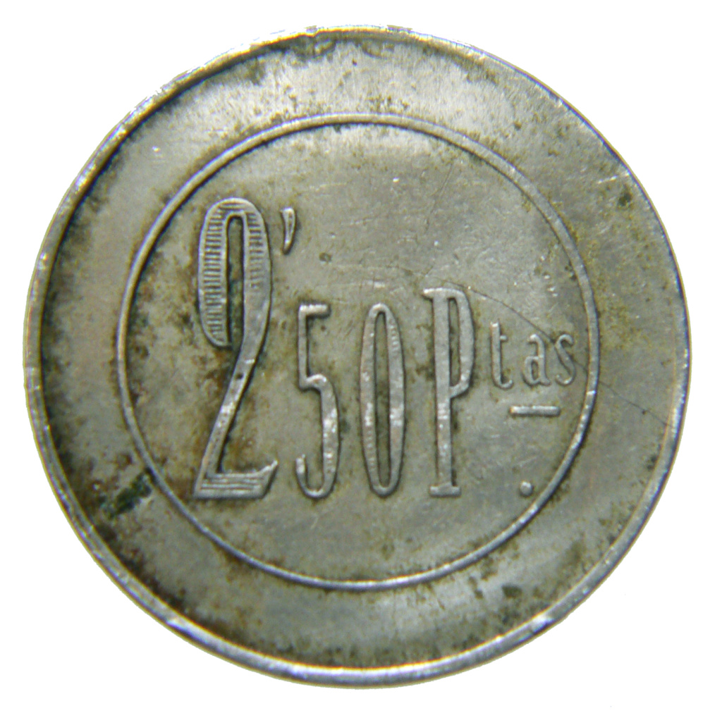 Ficha a identificar. Casino? 2,50 pesetas monograma RY P1430010