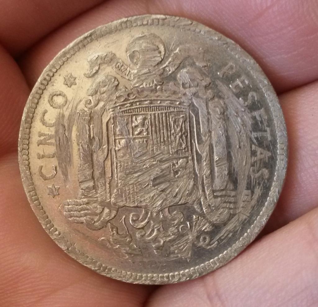 5 pesetas 1949. Estado Español. Horror en el cofre del tesoro  Cara_114
