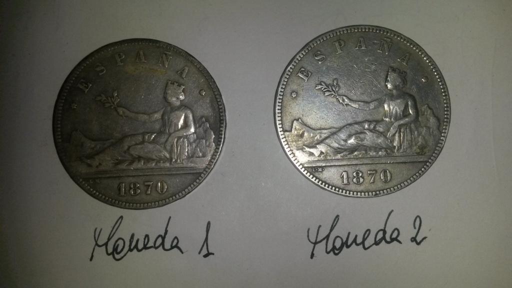 5 pesetas 1870. Gobierno Provisional. Dos duros y un papel... Cara_211