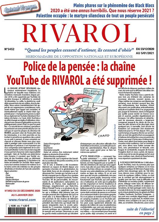 2020/12/23 Police de la pensée : la chaîne YouTube de RIVAROL a été supprimée ! Rivaro10