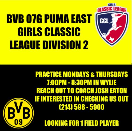 BVB 07 Girls Puma GCL D2 Looking for 1 Field Player! Screen16