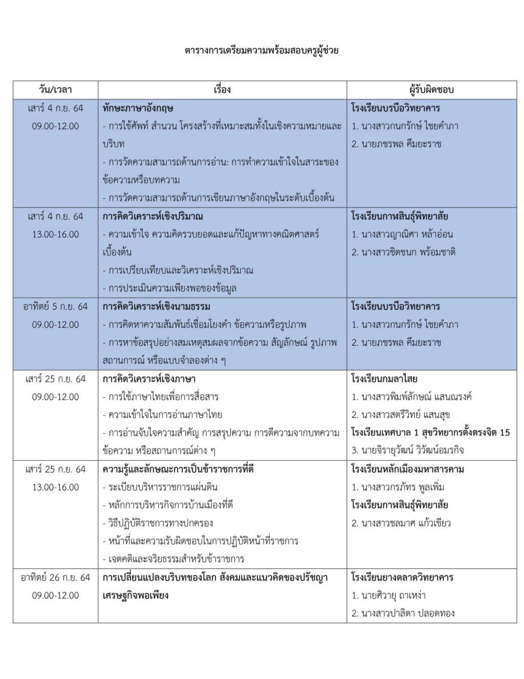 ตารางเตรียมความพร้อมสอบครูผู้ช่วย EN60 111