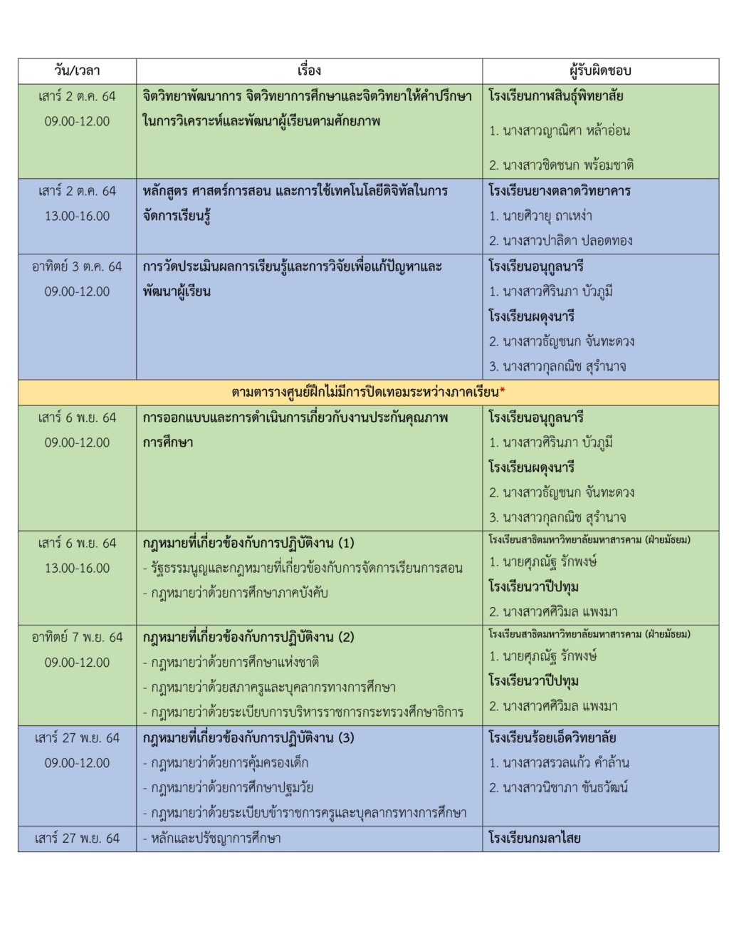 ตารางเตรียมความพร้อมสอบครูผู้ช่วย EN60 211