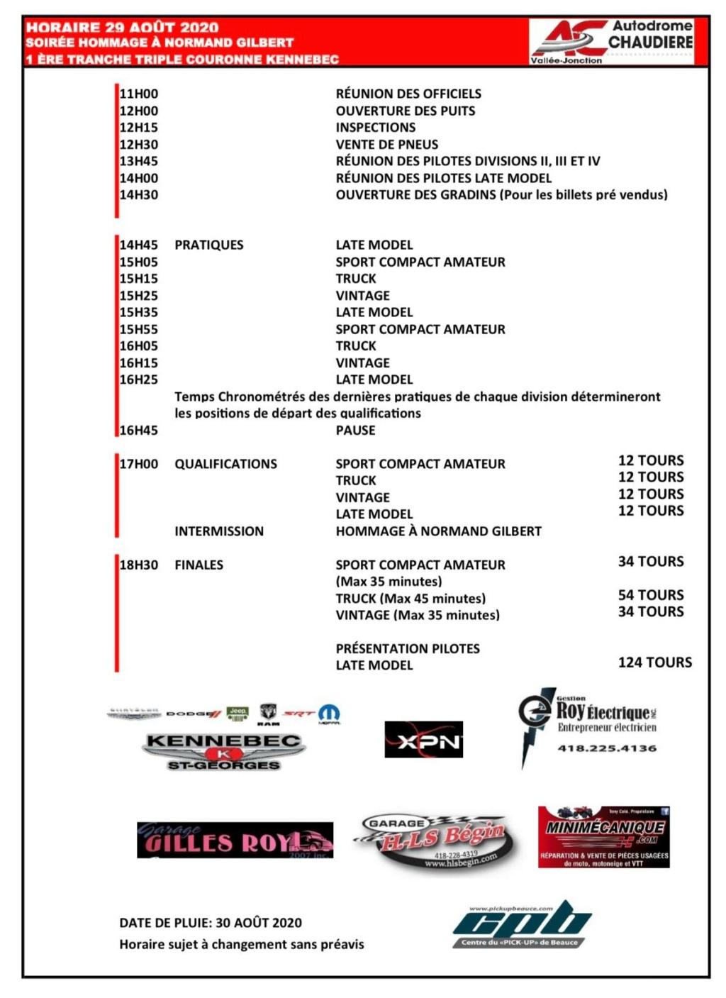 Autodrome Chaudière - Horaire 29 août 2020 2910