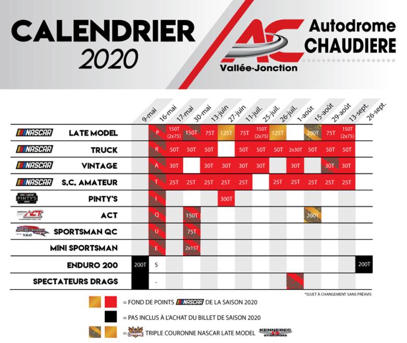 Calendrier 2020 :  NASCAR Vintage à l'Autodrome Chaudière Cedule10