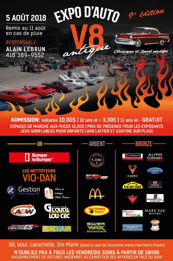 Expo d'auto V8 antique - 5 août à Ste-Marie Poster10