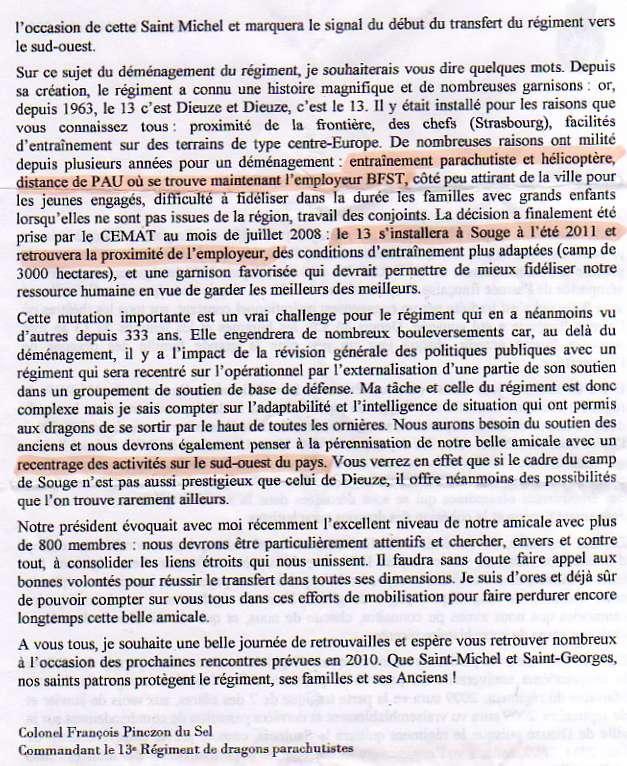 Hier, au repas de l'Amicale, le Psdt nous a lu cette lettre émouvante, de l'actuel Chef de Corps .. 13e_rd11