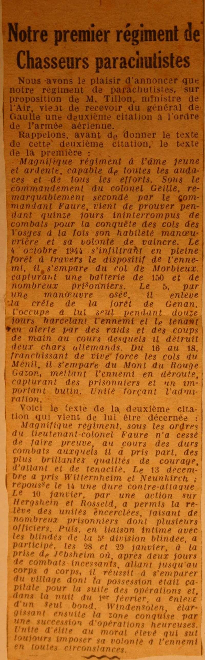 1er RCP 1945: Notre premier régiment de chasseurs parachutiste, 2e citation à l'ordre de l'armée aérienne Articl10