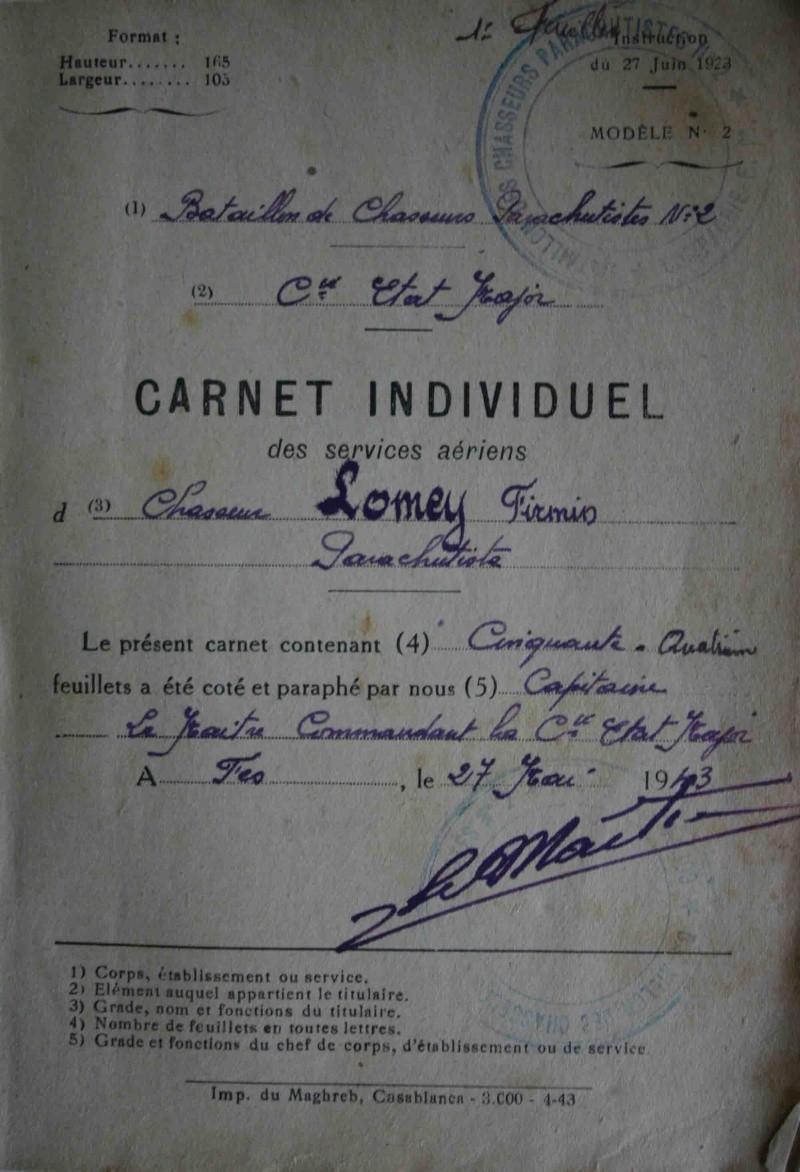 Firmin LOMEY brevet n°873 à FEZ Maroc en 1943 - 1er Régiment de Chasseurs Parachutistes  s Livret10