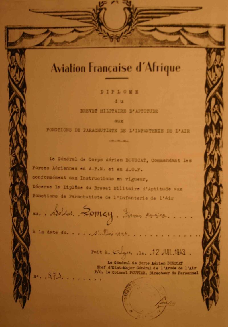 Firmin LOMEY brevet n°873 à FEZ Maroc en 1943 - 1er Régiment de Chasseurs Parachutistes  s Lomey_10