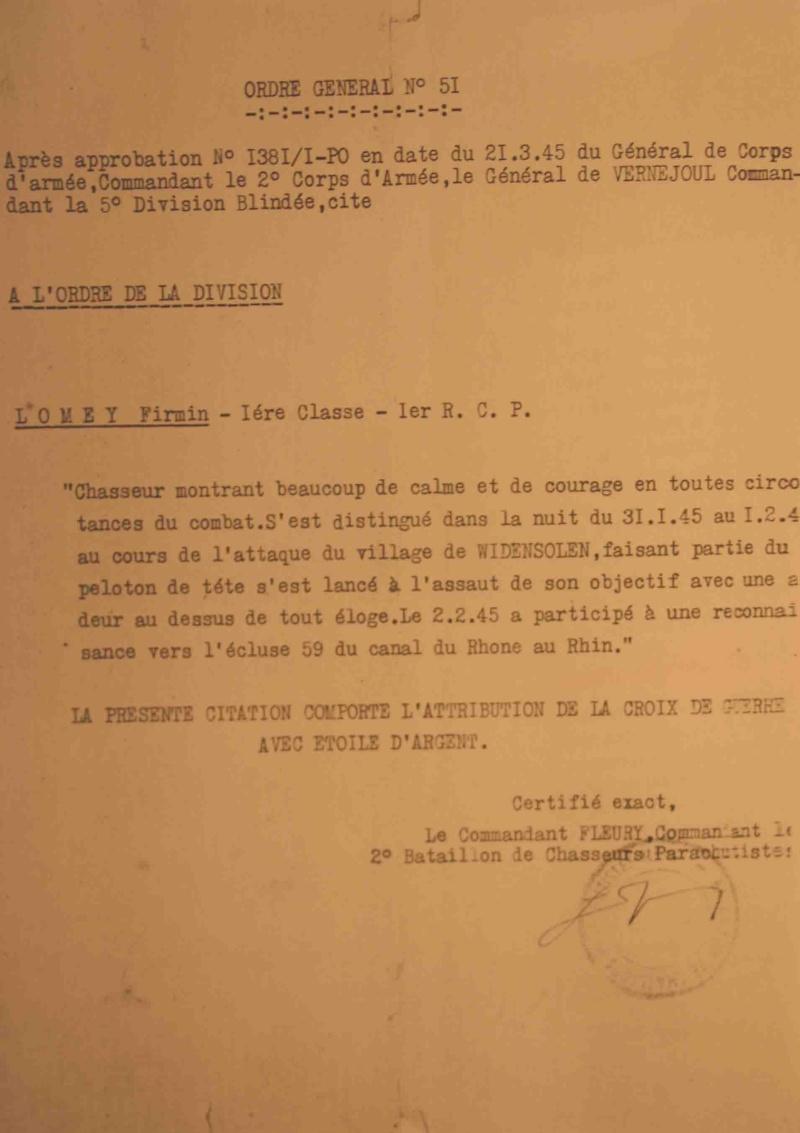 Firmin Lomey : Citation comportant l'attribution de la Croix de Guerre avec Etoile d'Argent Lomey_11