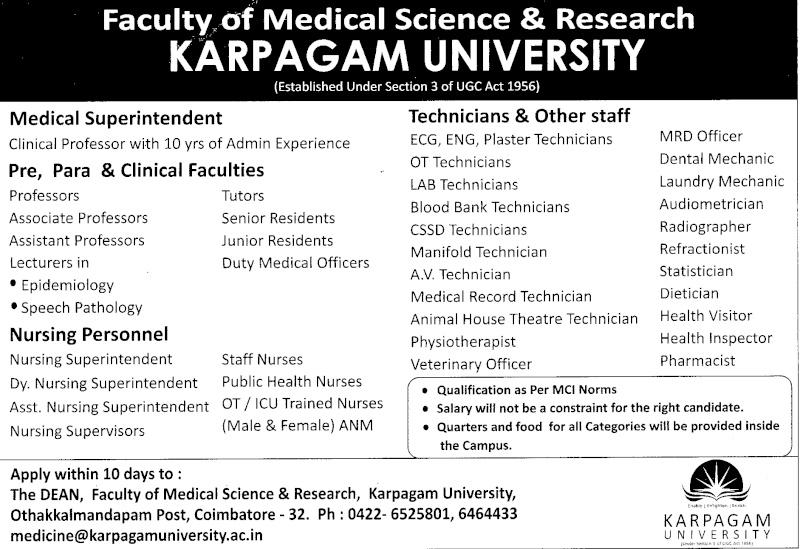 Vacancies at Karpagam University Scan0010