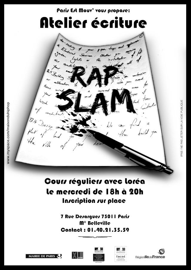 Cours de rap/slam/ecritures gratuit a la maison du  hip hop Atelie10