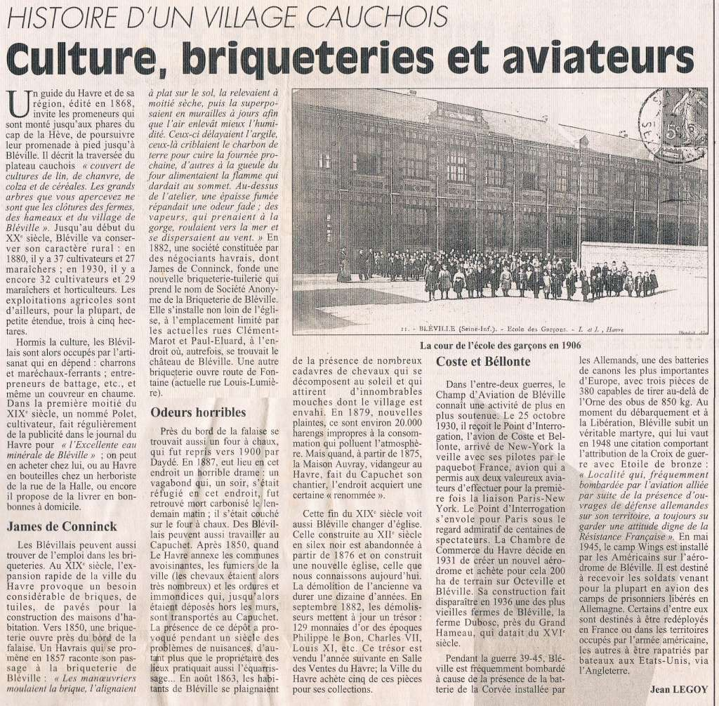 Abbé - Histoire des communes - Le Havre-Bléville 1996-011