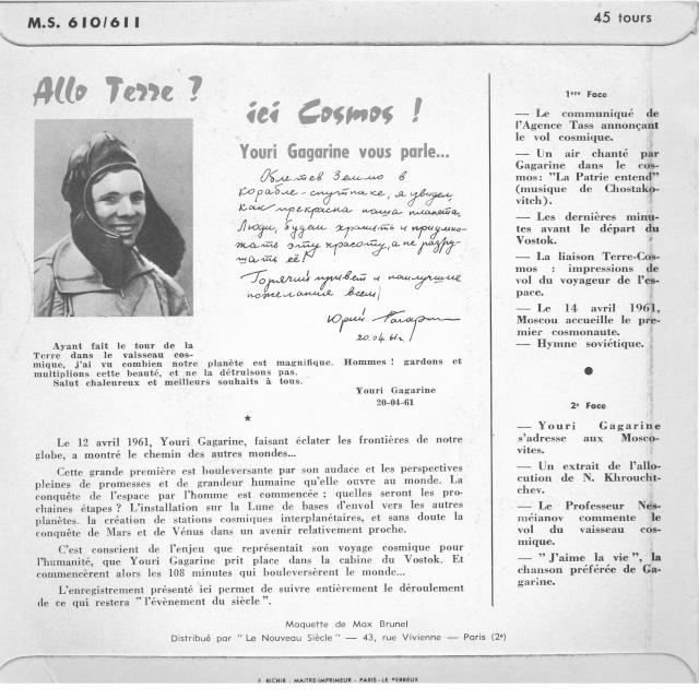 Youri Gagarine : cherche documents, oeuvres d'art, objets, etc. à son image Allo210