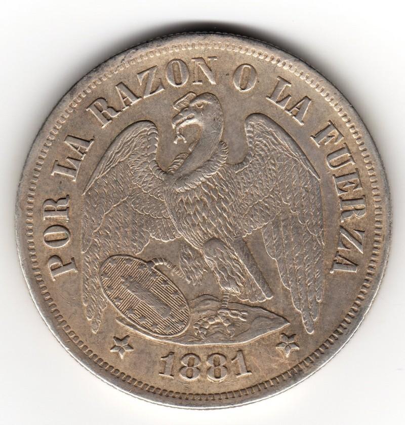 1 Peso. Chile. 1881.  230_210