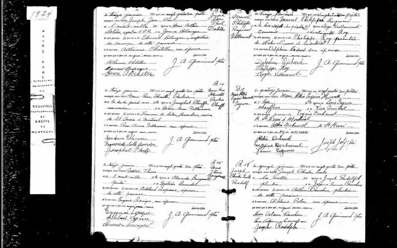 mariage François Michaud et Fernande Parent, parents de Fernande Parent (introuvable) Naissa11