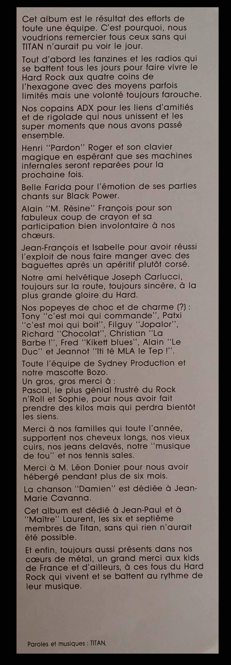 Paroles du premier album de TITAN (1986) 910