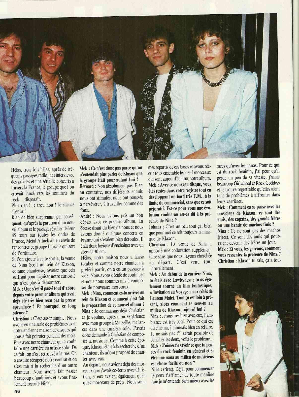 """KLAXON interview dans """"Metal Attack"""" Juillet 1985 Numyri26"""