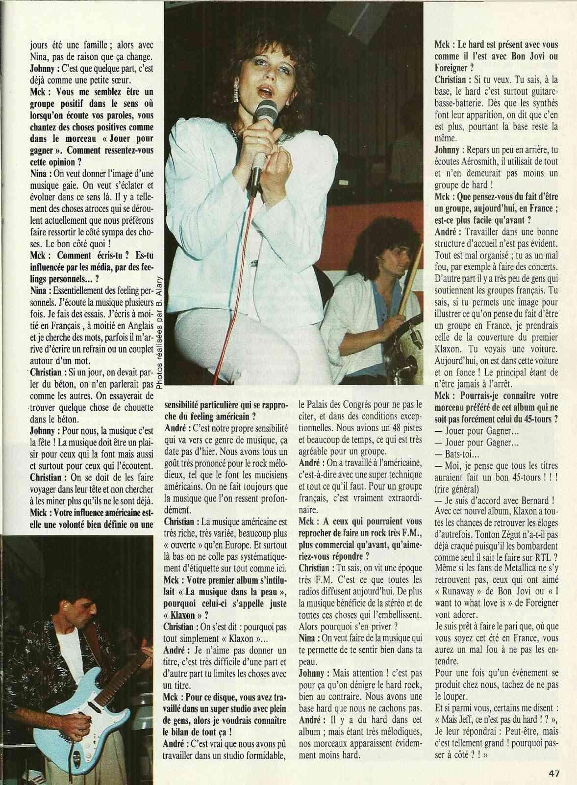 """KLAXON interview dans """"Metal Attack"""" Juillet 1985 Numyri27"""