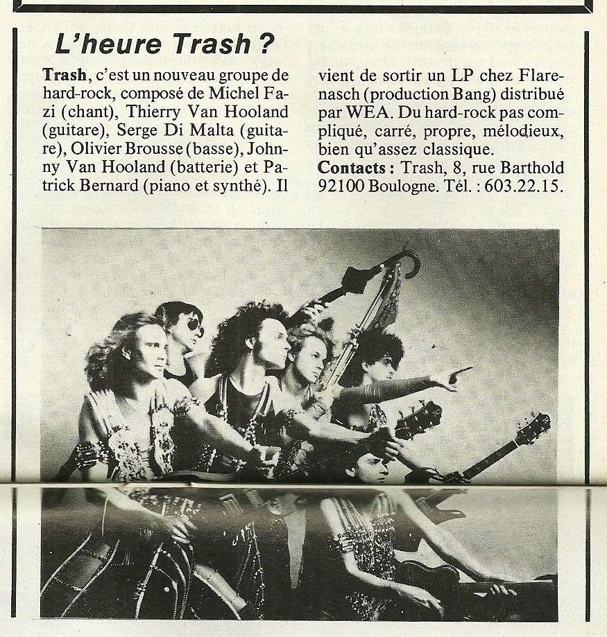TRASH Chronique 1er album et article d'époque ... Trash110