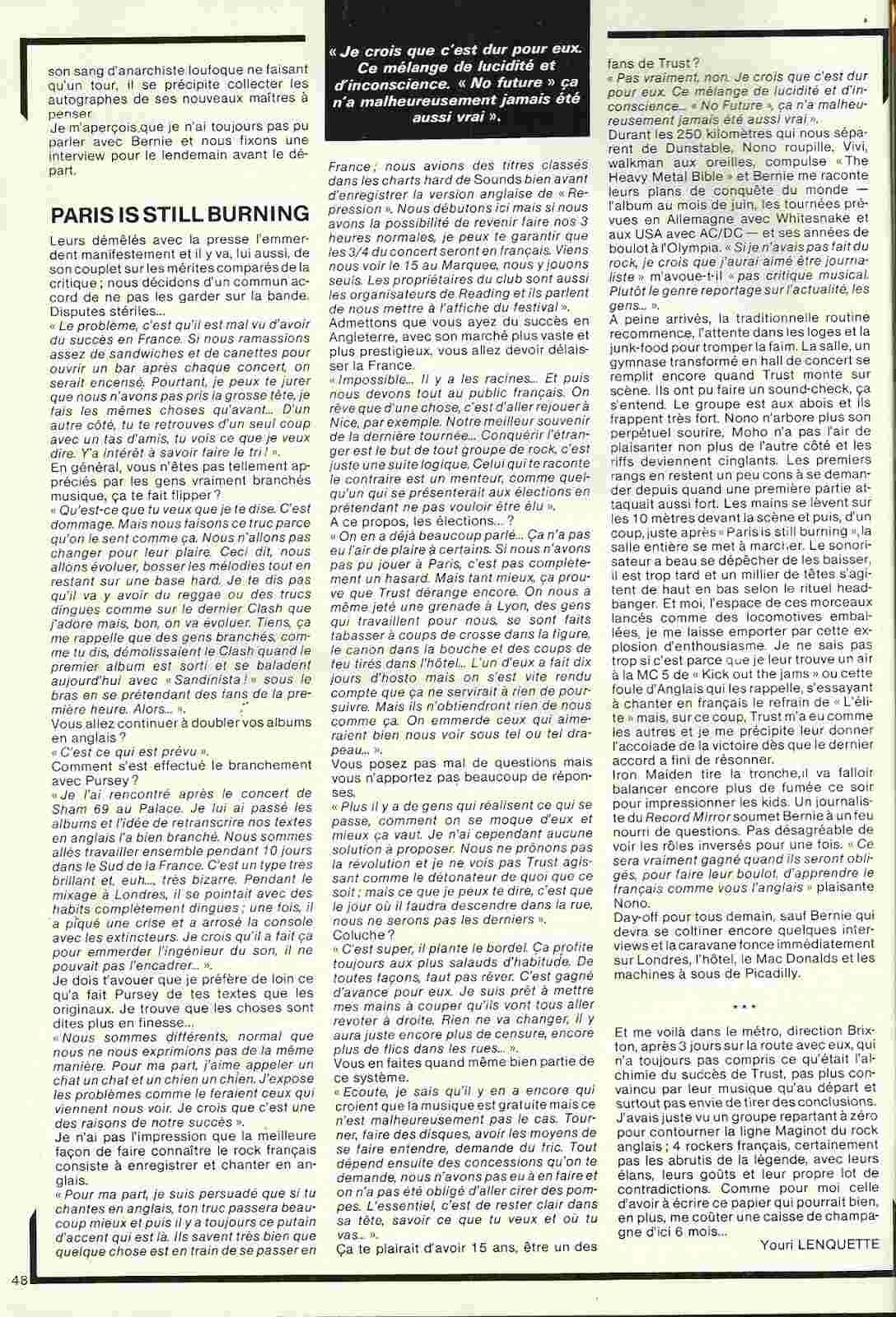 TRUST dans Best Avril 1981 (Article d'époque) Trust_13