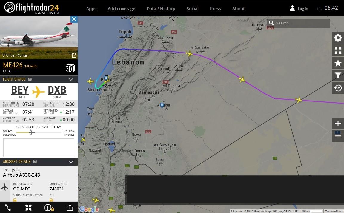 radarvirtuel.com/Flightradar24.com : tous les avions en vol en direct sur une carte - Page 3 Syrie_11