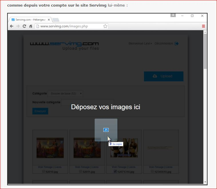 Placer des images sur le forum, un lien etc... Servim15