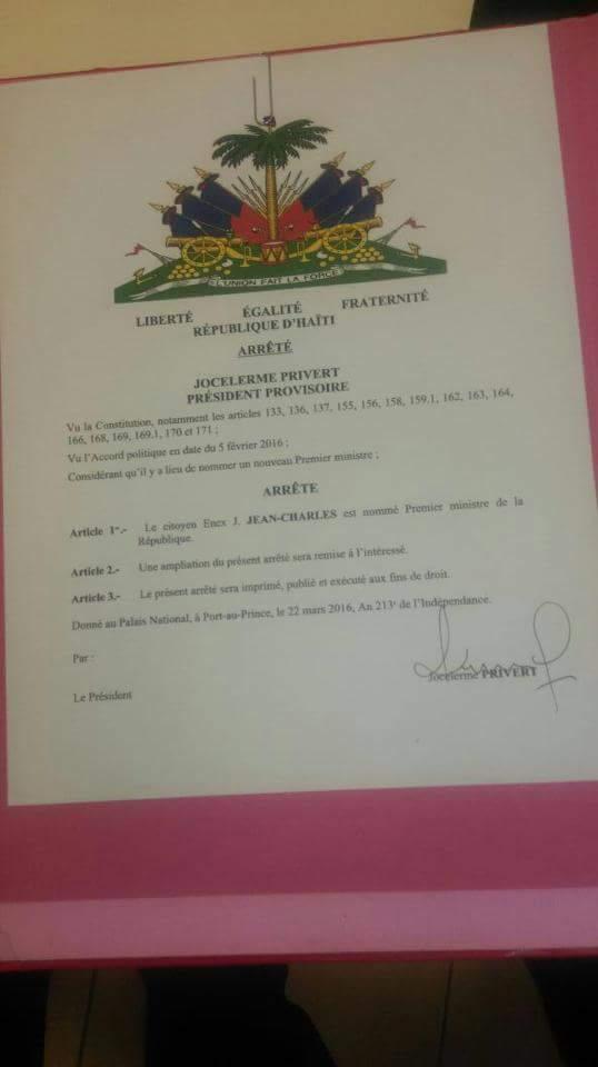 Privert nomme un nouveau PM  Enex Jean Charles  10649410