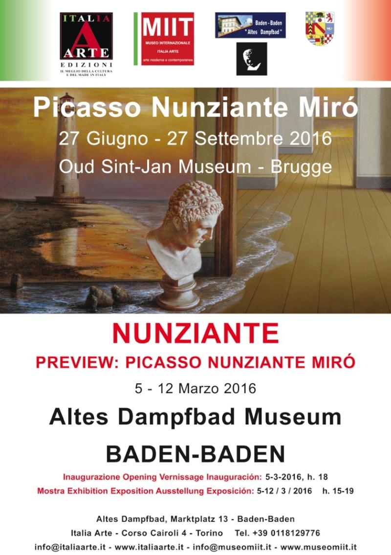 """Preview """"Picasso - Mirò - Nunziante"""" 05-12 Marzo 2016 Baden Baden (D) Locand10"""