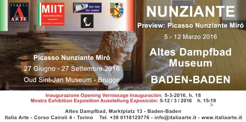 """Preview """"Picasso - Mirò - Nunziante"""" 05-12 Marzo 2016 Baden Baden (D) Nu10"""