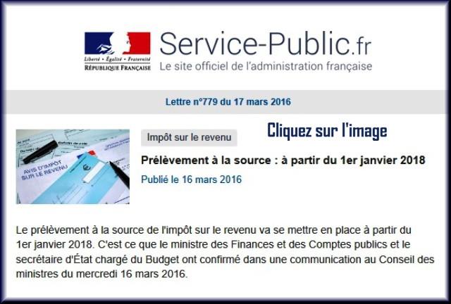 """La lettre N° 779 de """"Service Public"""" du 17 Mars 2016 77910"""