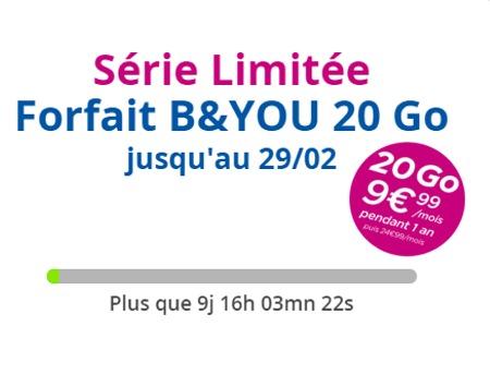 Le retour du Forfait B&YOU 20 Go à 9,99 €/mois Promby10